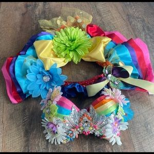 Beautiful Rainbow Rave Outfit